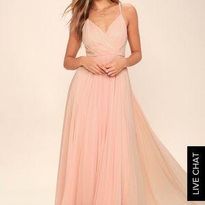 Blush pink bridesmaid dress long sleeveless